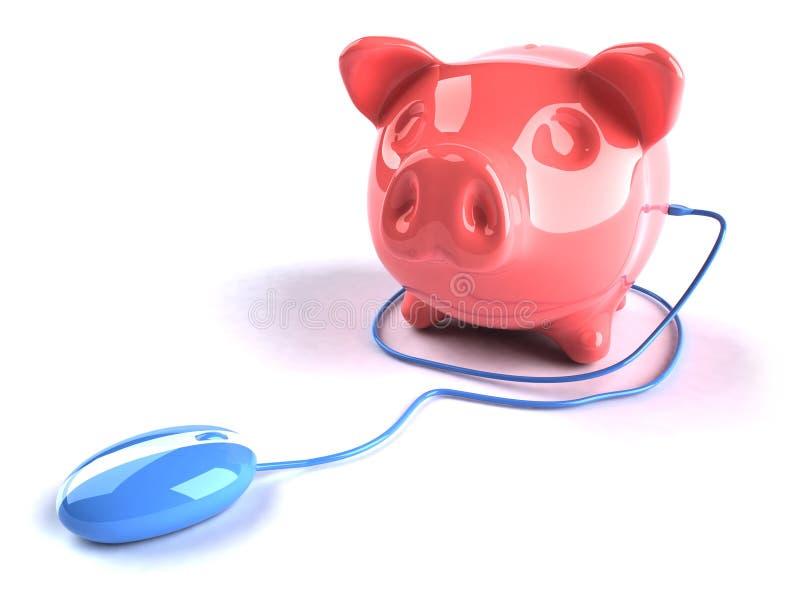 Bank on the internet. 3d piggybank royalty free illustration