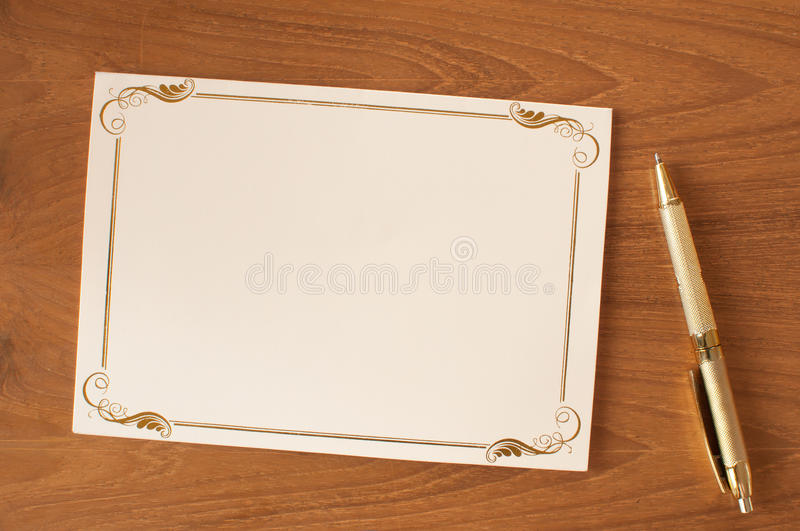 Bank invitation card. With pen stock photos
