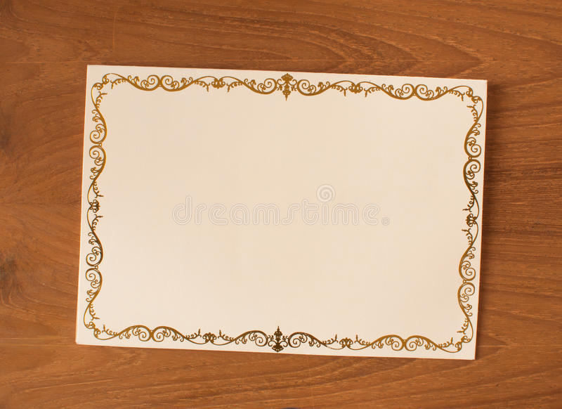Bank invitation card. With vintage frame royalty free stock photo