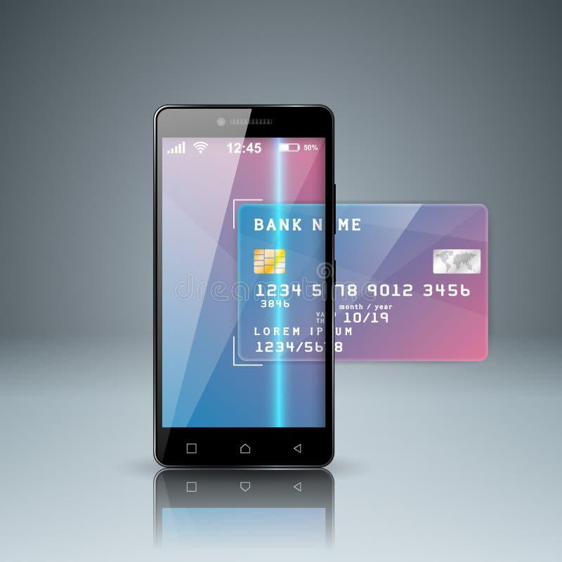 Bank, kaart, smartphone, digitaal gadgetpictogram Zaken stock illustratie