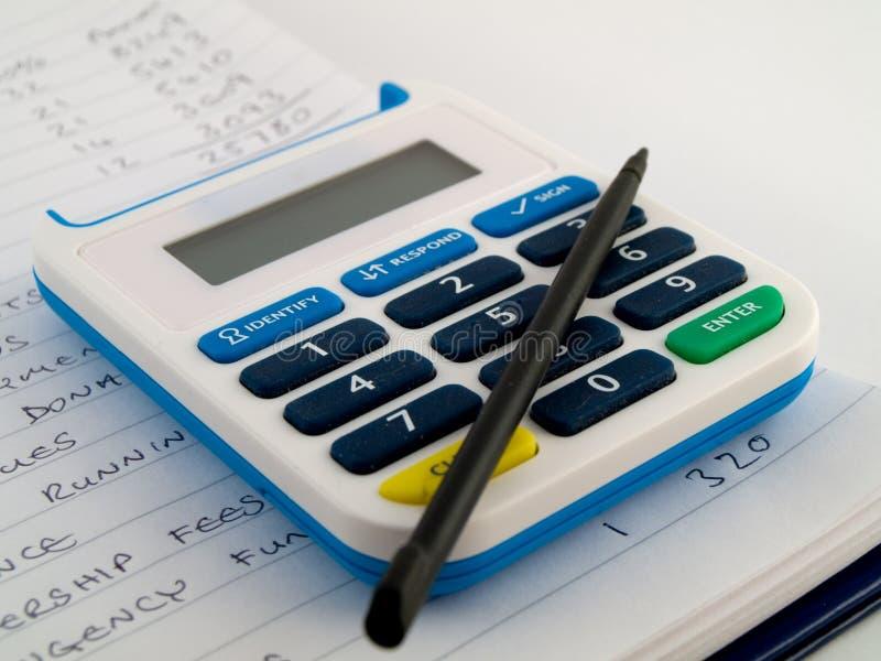 bank kalkulator liczby ochrony stylus szpilki zdjęcie royalty free