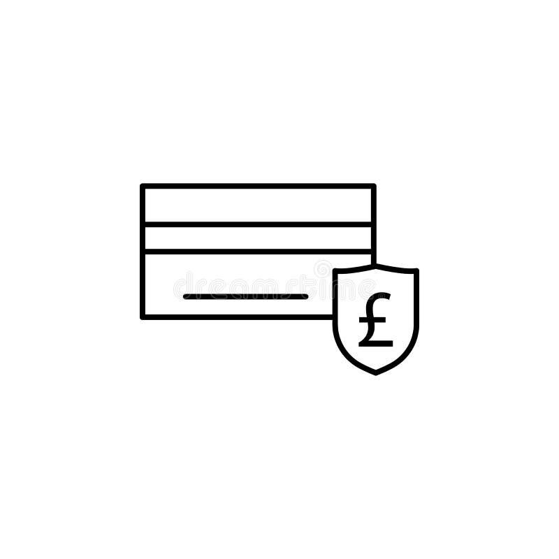 Bank karta, funtowa ikona Element finansowa ilustracja Znaki i symbol ikona mogą używać dla sieci, logo, mobilny app, UI, UX ilustracja wektor