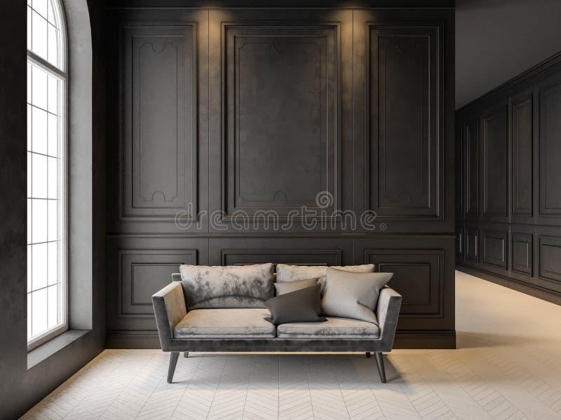 Bank in klassiek zwart binnenland 3D geef omhoog spot terug royalty-vrije stock afbeelding