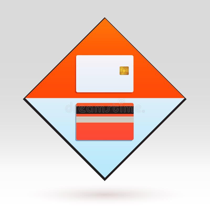 Bank-Kreditkarte-Modell-Schablonen-Ikonen-Design-Tool vektor abbildung