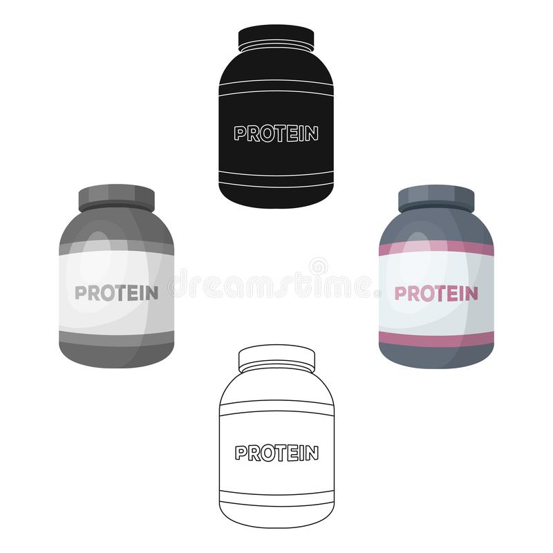 The Bank labeled protein. Sports supplements in nutrition for muscle growth.Gym And Workout single icon in cartoon,black. Style vector symbol stock web royalty free illustration