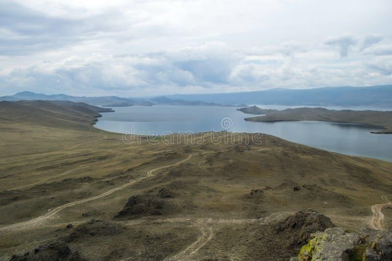 Bank of Lake Baikal. Russia. Road and steep bank of Lake Baikal. Russia royalty free stock image