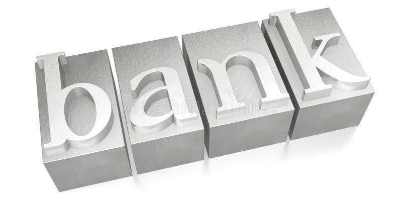 Bank - letterpress - 3D illustration stock photography