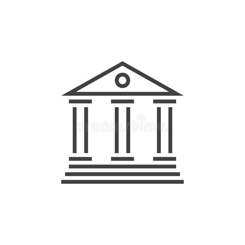 Bank linii ikona, konturu wektorowy logo, liniowy piktogram odizolowywający ilustracja wektor