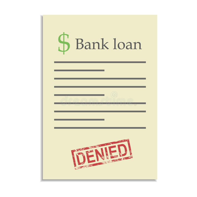 Bank loan document with denied stamp vector illustration