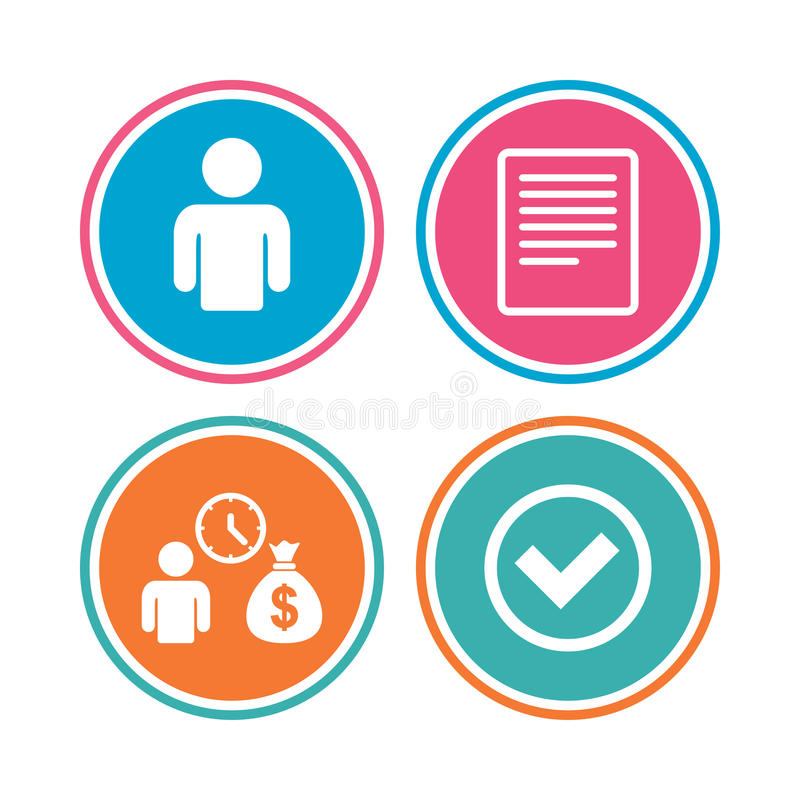 Bank loans icons. Fill document and get money. Bank loans icons. Cash money bag symbol. Apply for credit sign. Check or Tick mark. Colored circle buttons royalty free illustration