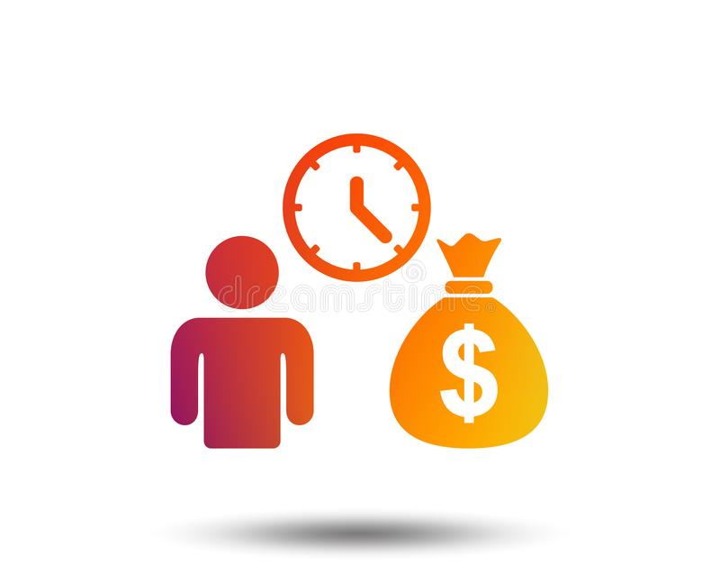 Bank loans sign icon. Get money fast symbol. Borrow money. Blurred gradient design element. Vivid graphic flat icon. Vector royalty free illustration