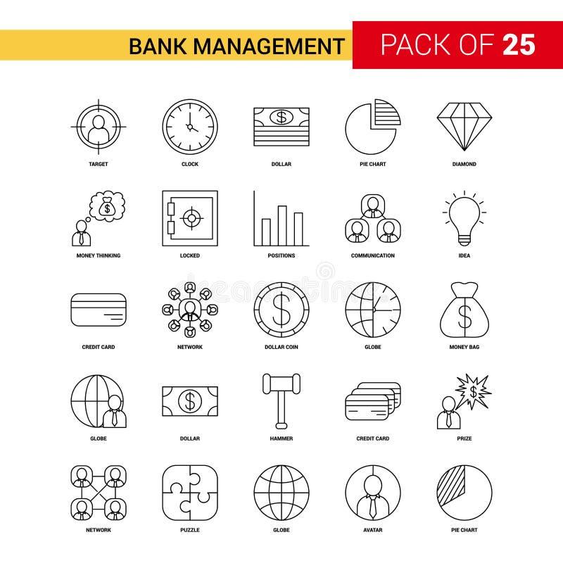 Bank-Management-Schwarz-Linie Ikone - 25 Geschäfts-Entwurfs-Ikonen-Satz stock abbildung