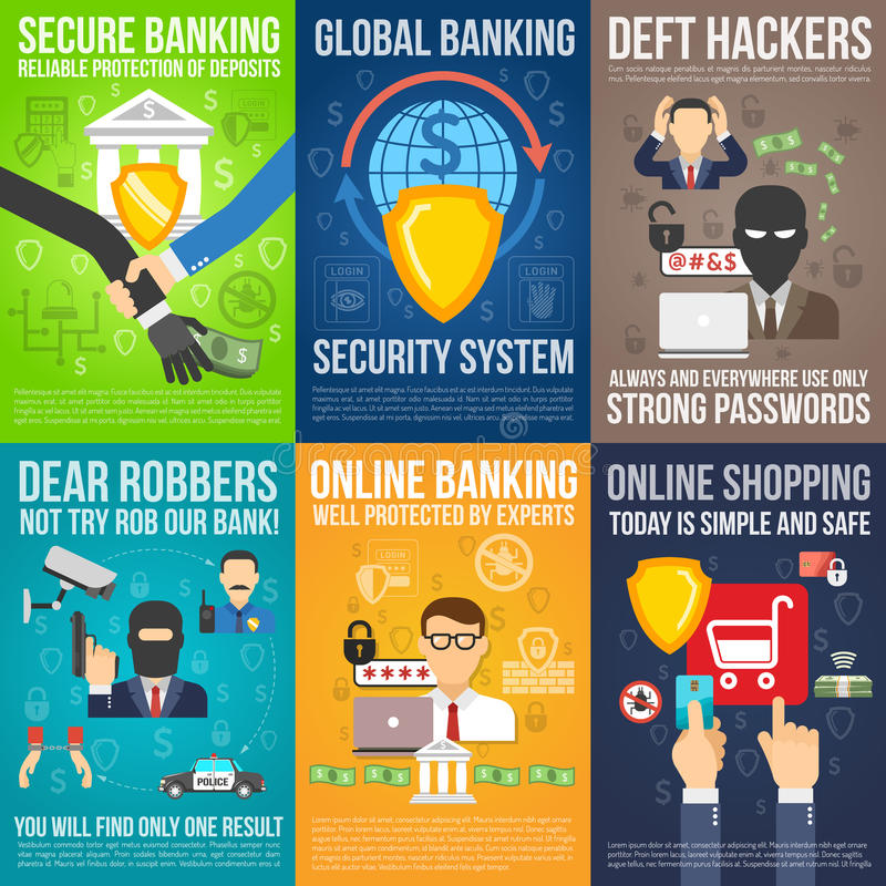 Bank Mini Poster Set stock illustrationer