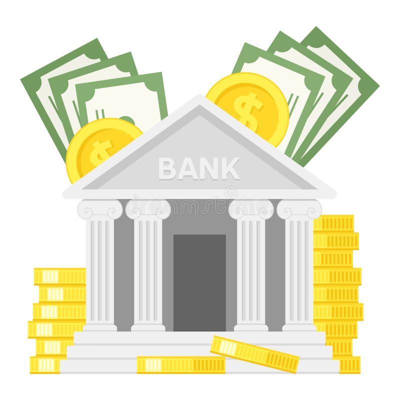 Bank mit der Geld-flachen Ikone lokalisiert auf Weiß lizenzfreie abbildung