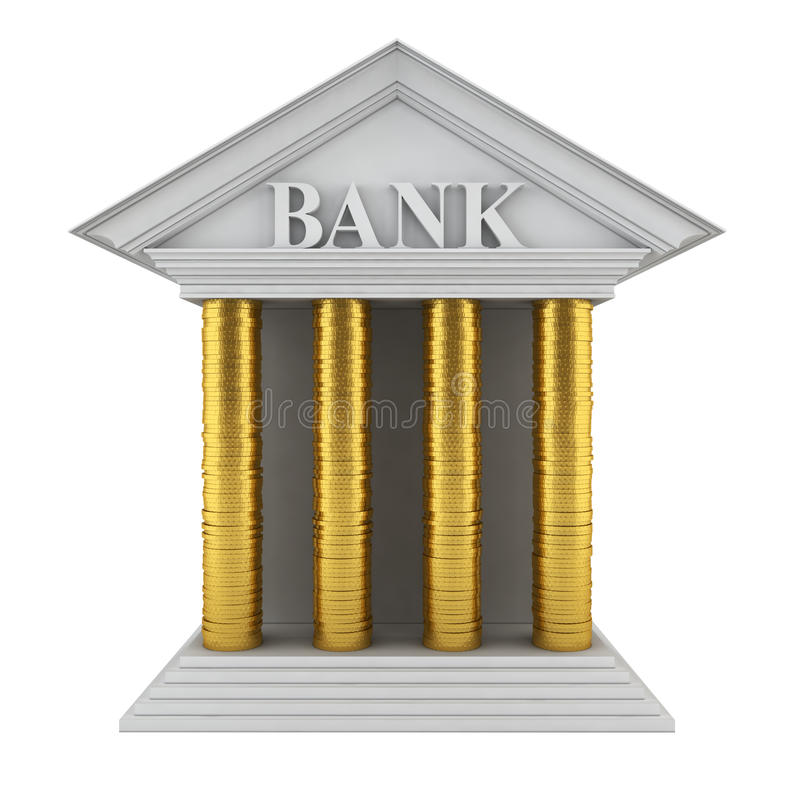 Bank Model. Stack Of Coins Instead Of Columns Stock Images