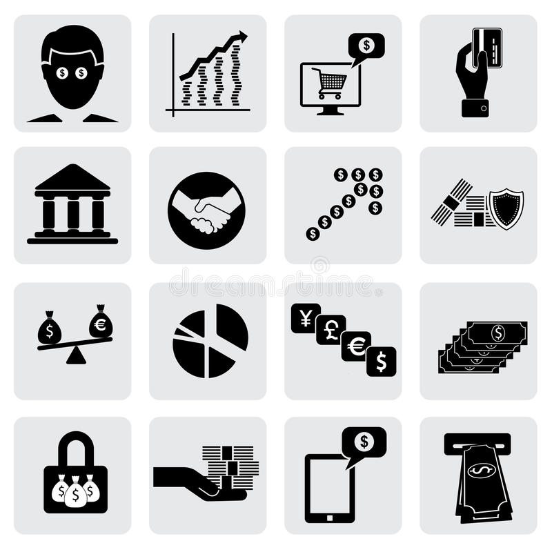 Bank & money icons(signs) related to wealth , assets stock illustration