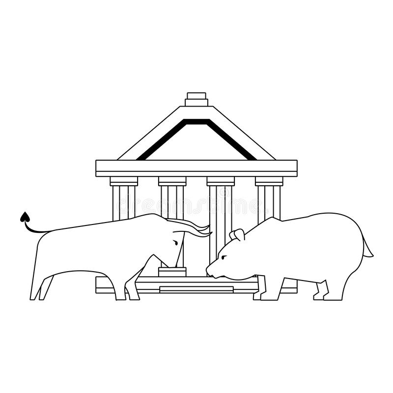 Bank and money stock market investment royalty free illustration