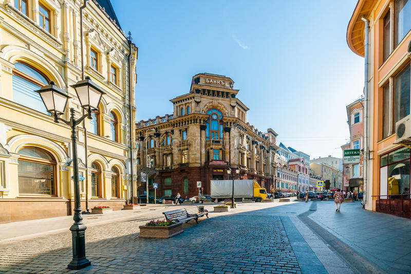 Bank of Moscow. Kuznetsky Most st. and Bank of Moscow building (center). Moscow, Russia, on Wednesday, August 20, 2014. The bank is one of the largest Russian stock photo