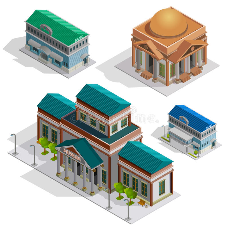 Bank And Museum Buildings Isometric Icons. Bank and museum city buildings isometric decorative icons set with pillars and elements in style of classicism vector royalty free illustration