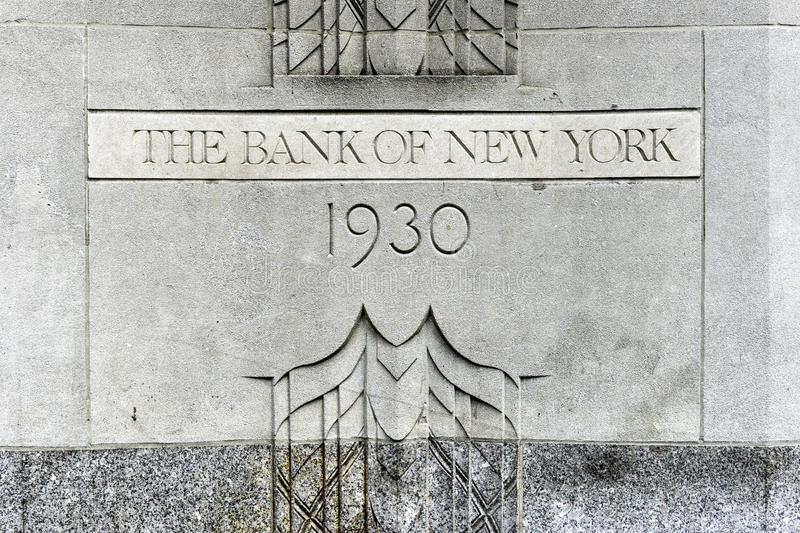 The Bank of New York Building. New York, USA - May 31, 2015: The Bank of New York Building cornerstone at 1 Wall Street, Manhattan. The Art Deco building is the royalty free stock images