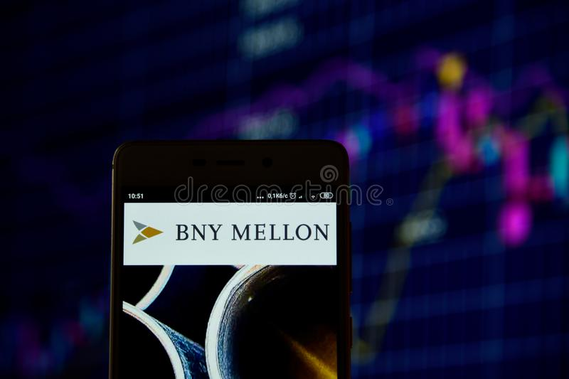 Bank of New York Mellon logo is displayed stock images