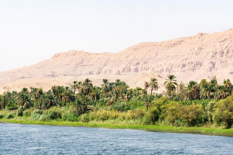 Bank of Nile river seen during touristic cruise, Egypt royalty free stock photos