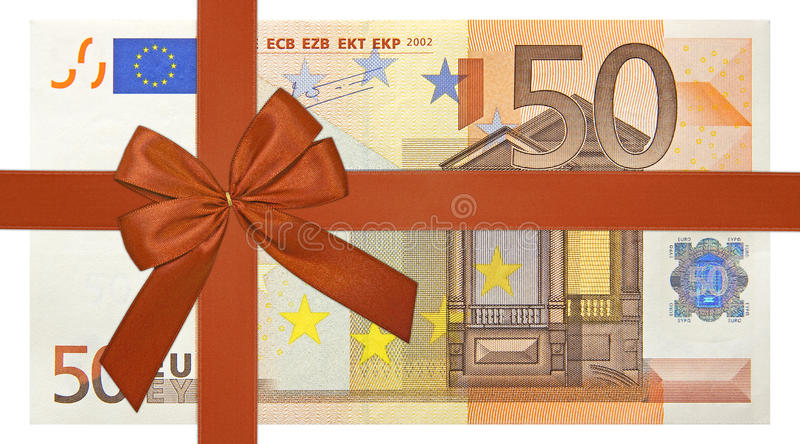 Bank note with red ribbon. Fifty euro bank note with red ribbon band stock photo