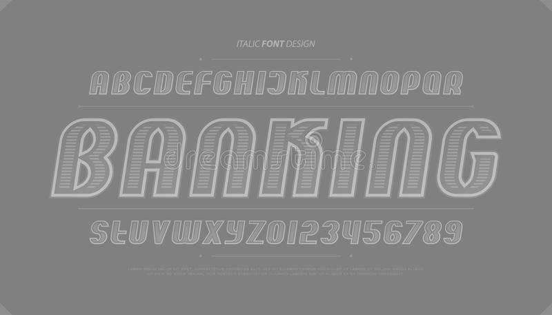 Bank note style alphabet letters and numbers. vector, money font type. Design. italics lettering symbols. stylish contour typesetting. outline, italic typeface stock illustration