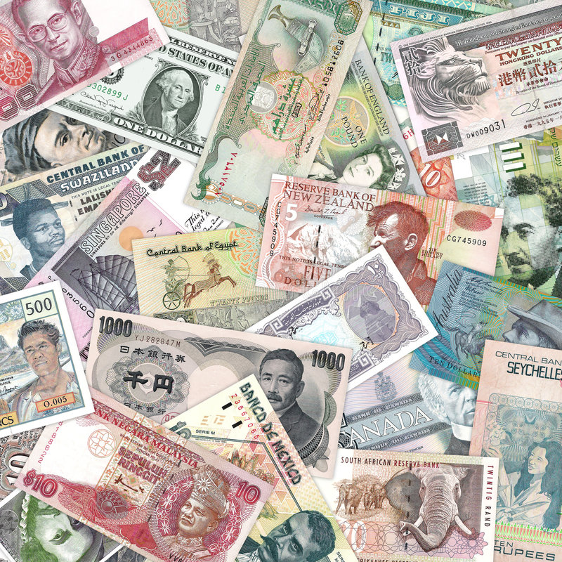 Bank Notes. A selection of bank notes royalty free stock photo