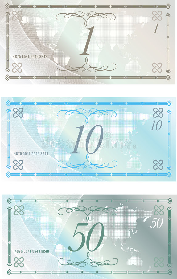Bank notes. Vector illustration of a generic money note design royalty free illustration