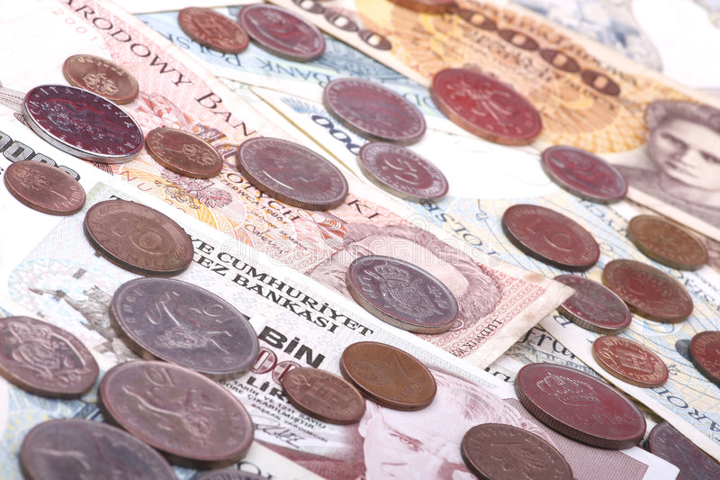 Bank notes and coins. Old european currencies, collectible use stock photos