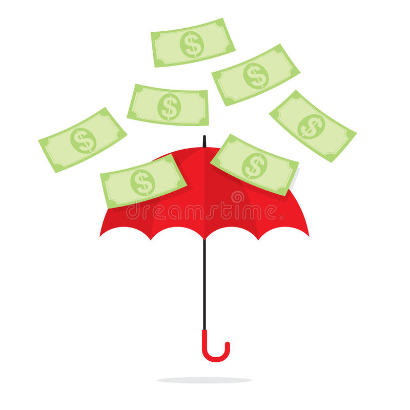 Download Bank Notes Falling Towards Umbrella Stock Vector - Illustration of dollar, millionaire: 39508102