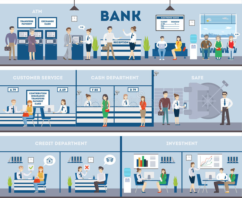 Bank- och kontorsinre vektor illustrationer