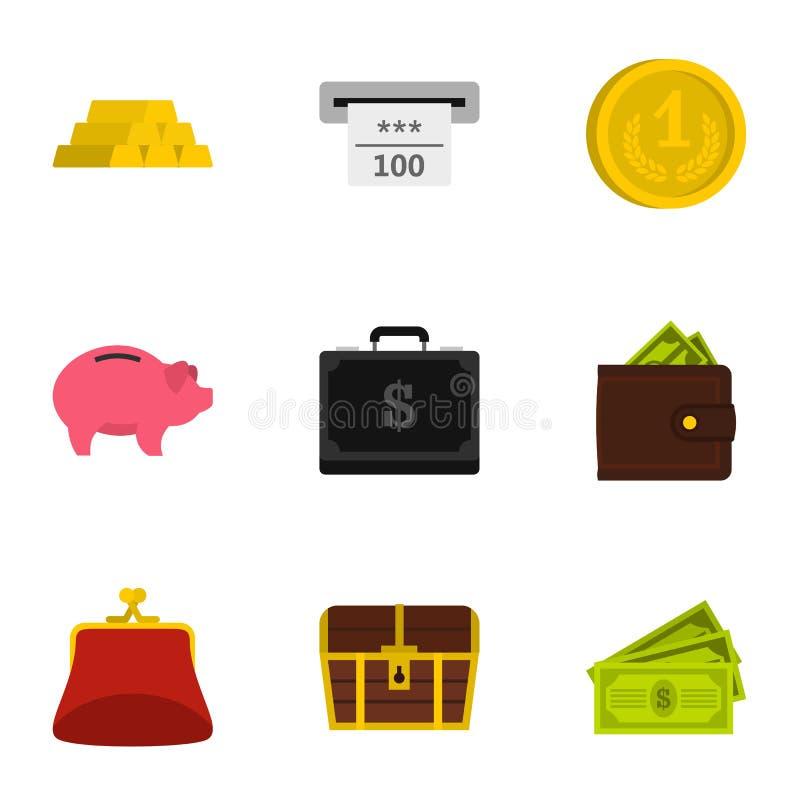 Bank- och pengarsymboler ställde in, plan stil stock illustrationer