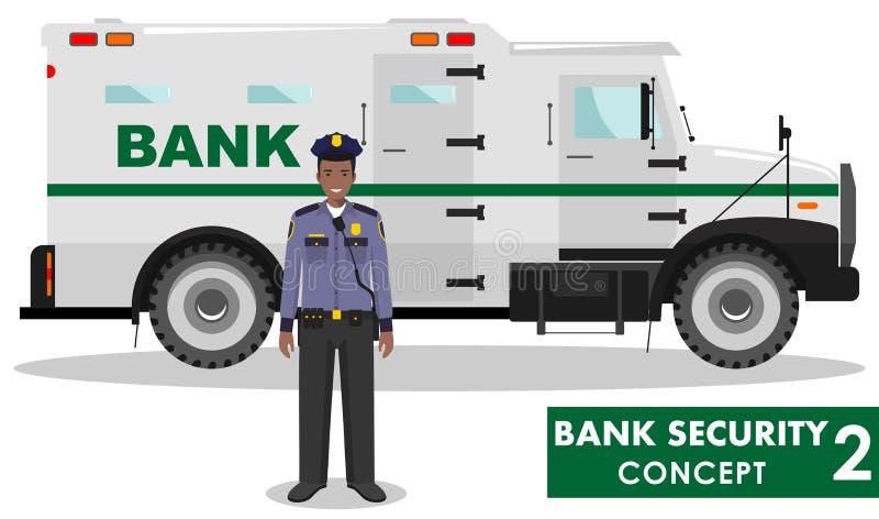 Bank ochrony pojęcie Szczegółowa ilustracja banka opancerzony samochód i pracownik ochrony na białym tle w mieszkaniu projektujem ilustracji