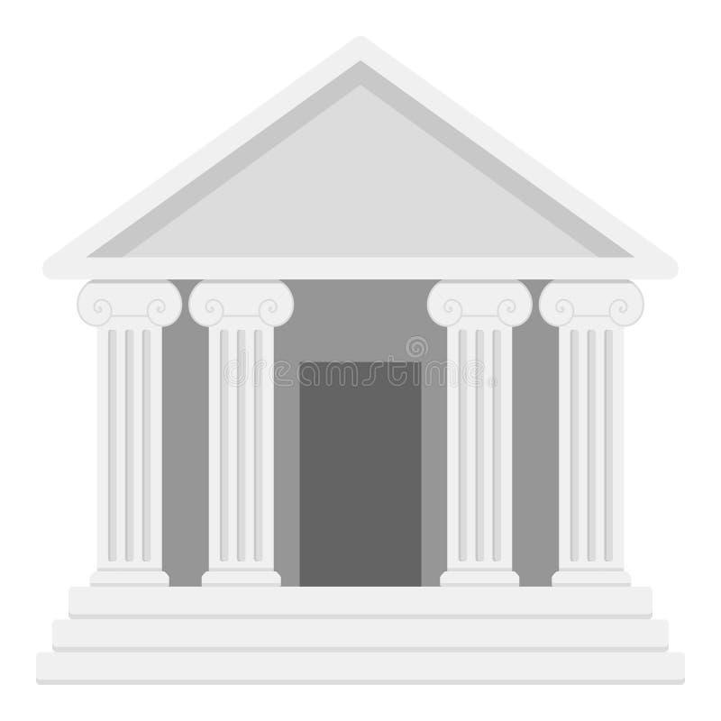 Bank oder Tempel mit Spalten-flacher Ikone lizenzfreie abbildung