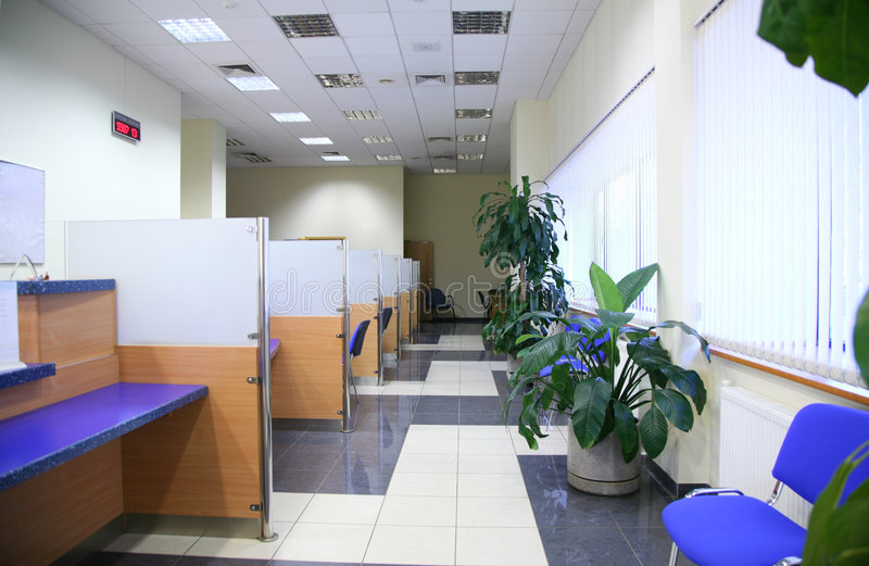 Bank office. Empty modern light bank office stock images