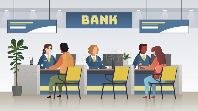 Bank office interior. Professional banking service, finance manager and clients. Credit, deposit consult management vector illustration