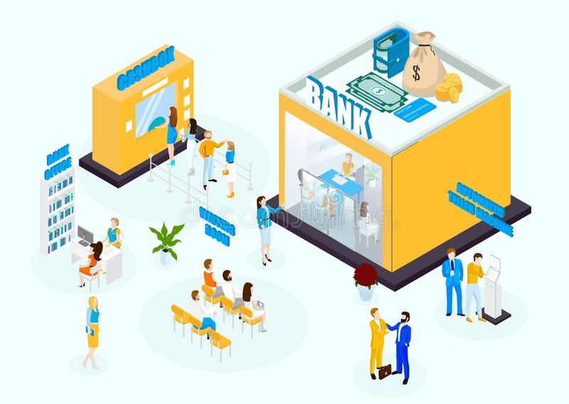 Bank office isometric set with workers vector illustration