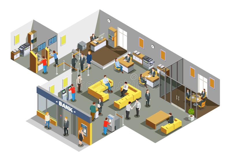 Bank Office Interior Isometric Composition. Bank offices interior with customers in waiting area and accounting clerks attending clients isometric composition vector illustration
