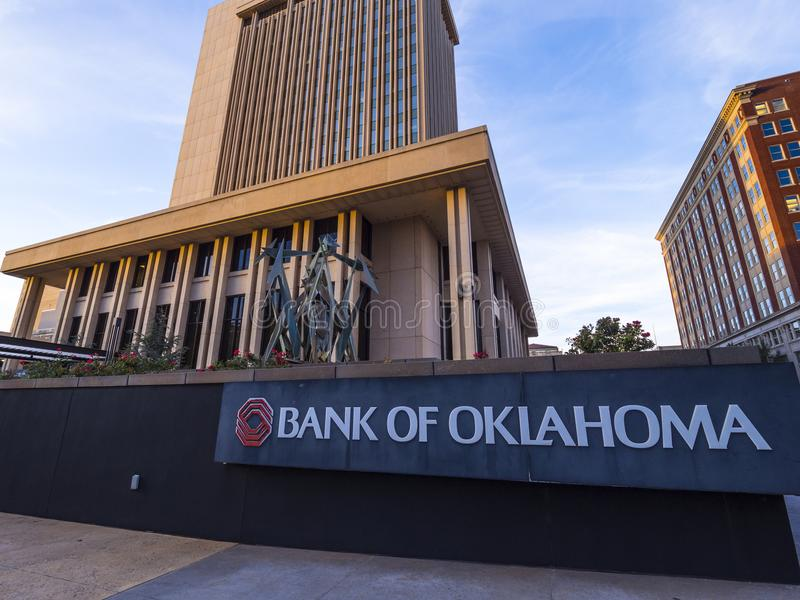 Bank of Oklahoma Headquarter at Downtown Oklahoma City - OKLAHOMA CITY - OKLAHOMA - OCTOBER 18, 2017 royalty free stock photo