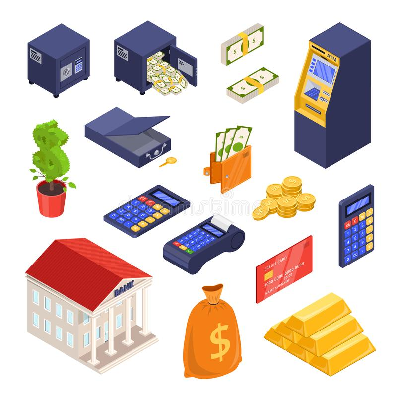 Bank and payment isometric icons. Money, finance, banking, investment and commerce vector illustration stock illustration