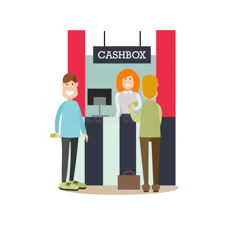 Bank people concept vector illustration in flat style. Vector illustration of bank teller female and customers males standing next to cashbox. Bank people stock illustration