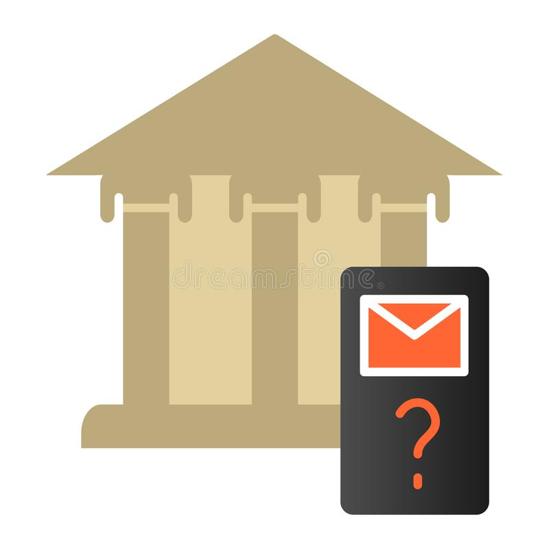 Bank phishing flat icon. Bank building and hook color icons in trendy flat style. Cyber attack gradient style design royalty free illustration