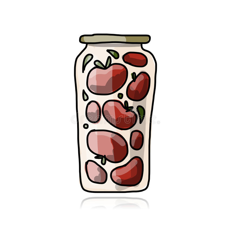 Bank of pickled tomatoes, sketch for your design royalty free illustration