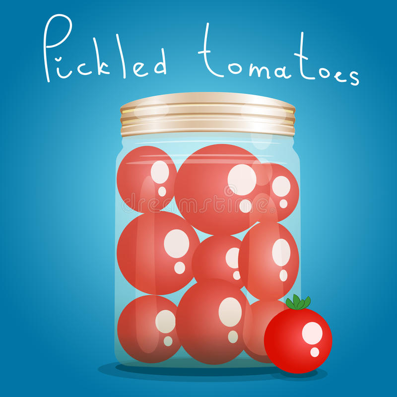 Bank pickled tomatoes stock illustration