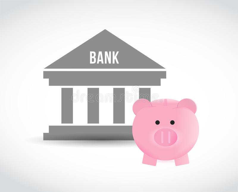 Bank and piggy bank. Saving Money concept. stock illustration