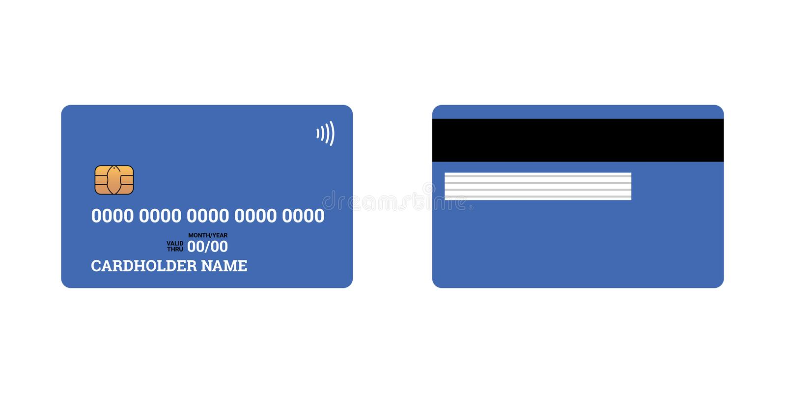 Bank plastic credit or debit contactless smart charge card front and back sides with EMV chip and magnetic stripe. Blank vector illustration