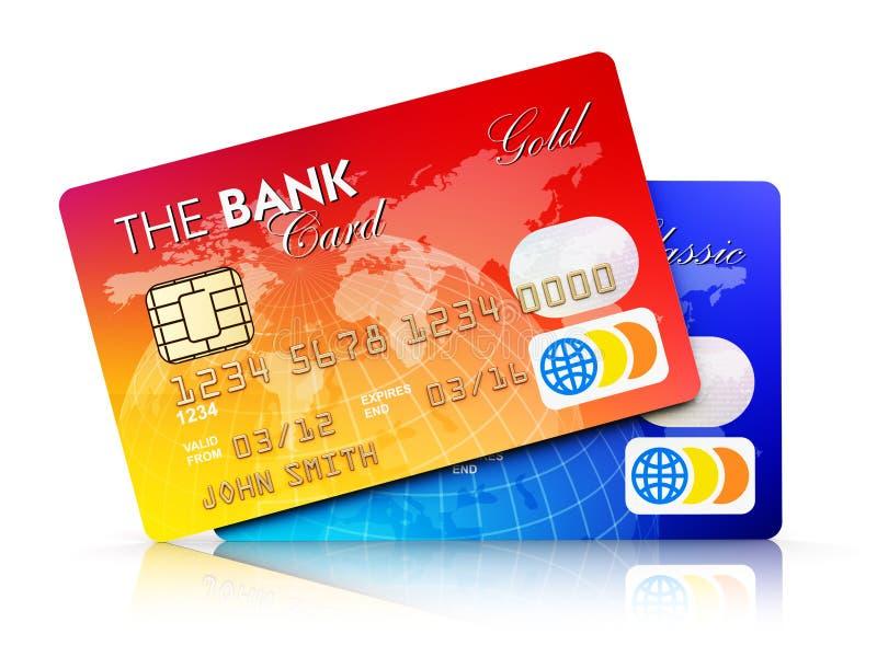 Bank plastikowe kredytowe karty na białym tle ilustracji