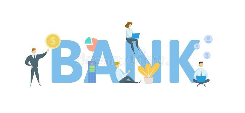 bank Poj?cie z lud?mi, listami i ikonami, P?aska wektorowa ilustracja pojedynczy bia?e t?o ilustracji